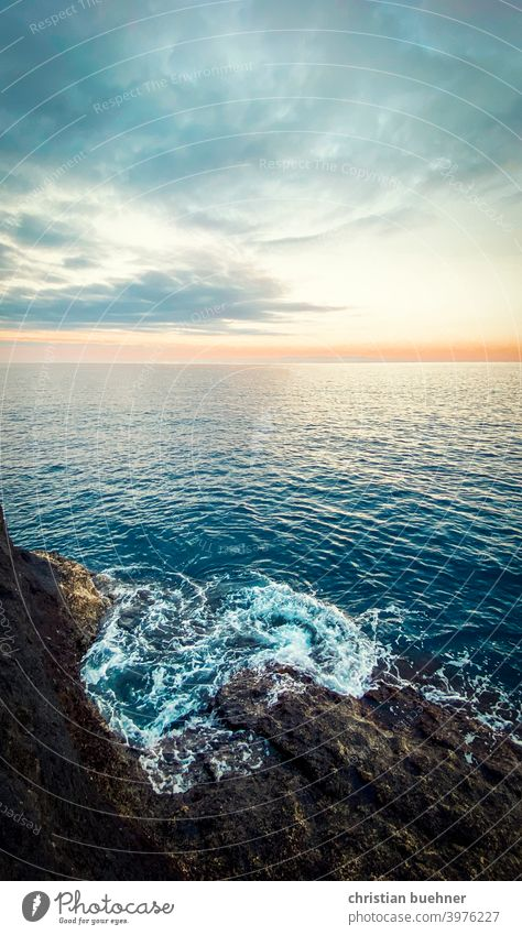 peaceful sunset beach and sea wave rock sky clouds emotional fresh pastel nature tenerife spain holliday relax blue
