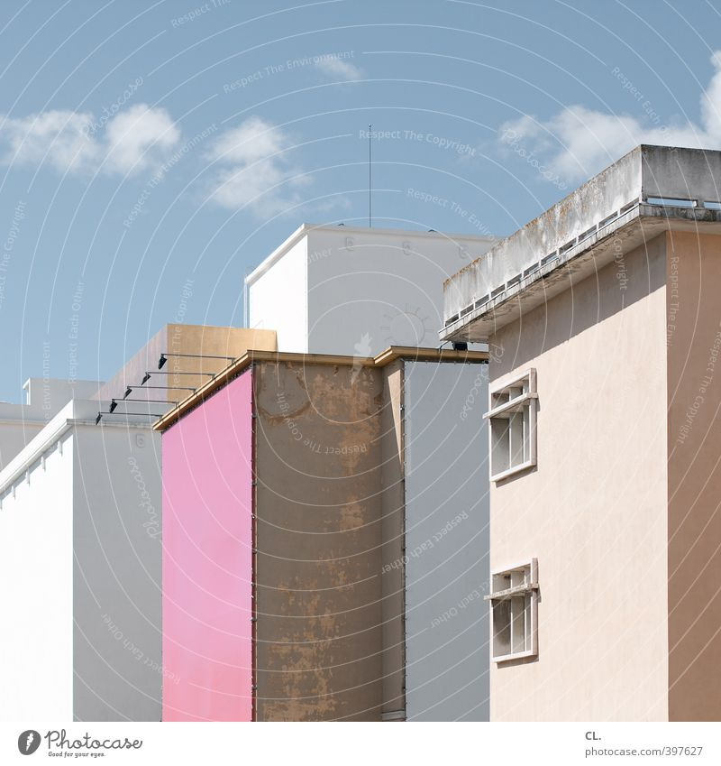 Sky Vacation & Travel City Summer Clouds House (Residential Structure) Window Wall (building) Spring Architecture Wall (barrier) Building Pink Flat (apartment)