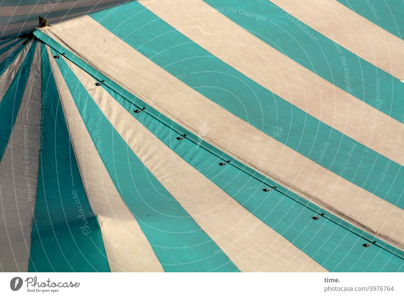 Strip with bend and bump tent roof tarpaulin canvas Stripe lines Tent Green White Eyelet obliquely Diagonal sunny Shadow Market day Bend Covers (Construction)