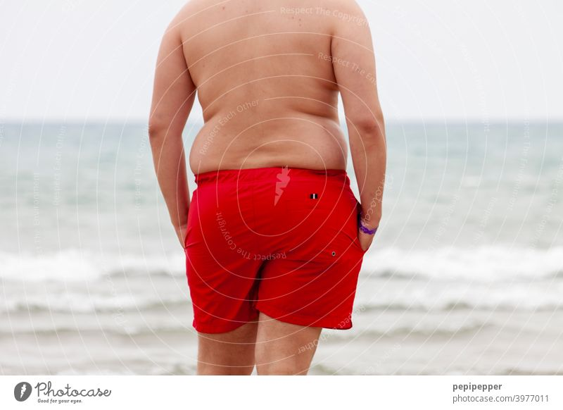 Baywatch - Overweight man on the beach Beach Man vacation Fat Bacon speckrolle Ocean Stomach Vacation & Travel Summer Water Swimming & Bathing Human being coast