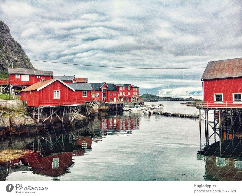Rorbuer / Red houses on the Lofoten in Norway stilt house stilts Fishing village Fishery Fishermans hut Fishing huts Lofotes Lofoten Islands Scandinavia