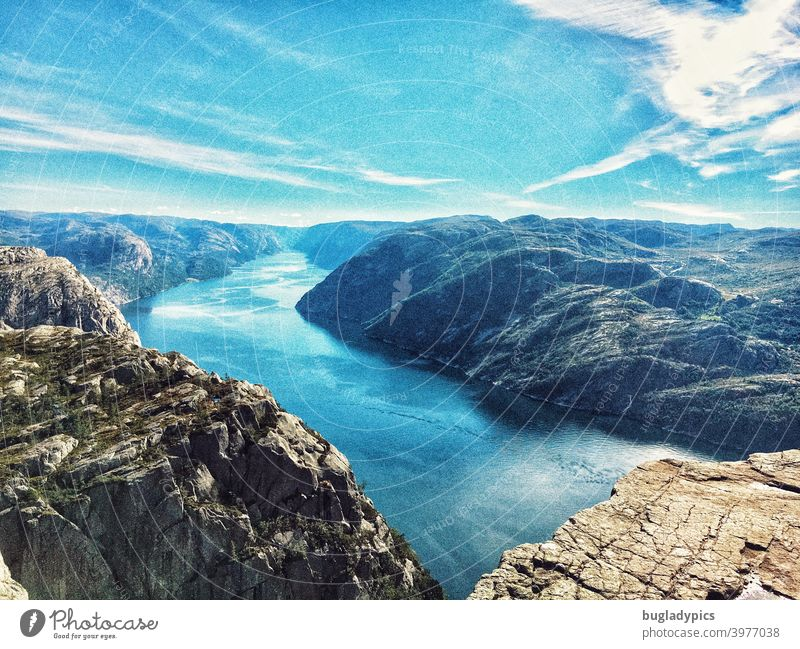 View over the Lysefjord / Fjord from Preikestolen (Norway) Rock rocky coast Mountain mountains Fjordlands Fjords fjord view Ocean Scandinavia Nature Landscape