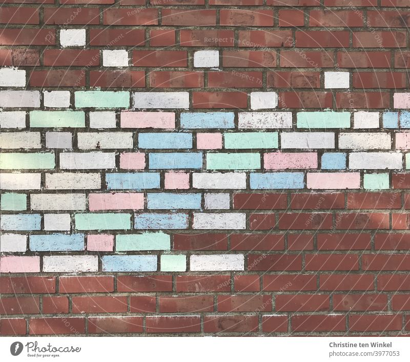 Brick facade, painted with chalk colorfully and very neatly Chalk Chalk paints Painting colours Painted Pattern Exterior shot Structures and shapes Abstract