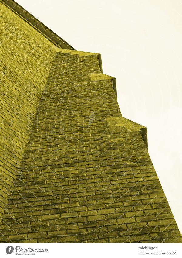Dark Wall (barrier) Religion and faith Facade Brick Sepia Massive House of worship Steep face
