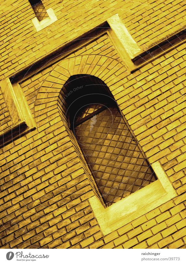 dark window Window Church window Gothic period Arch Wall (barrier) Brick House of worship Religion and faith neo-Gothic Sepia Architecture