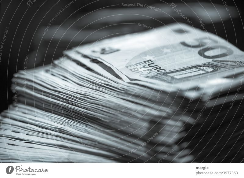 A stack of 50 Euro notes Money Bank note Financial Industry Save Success Shopping Economy Loose change Income Business Paying investment assets savings Luxury