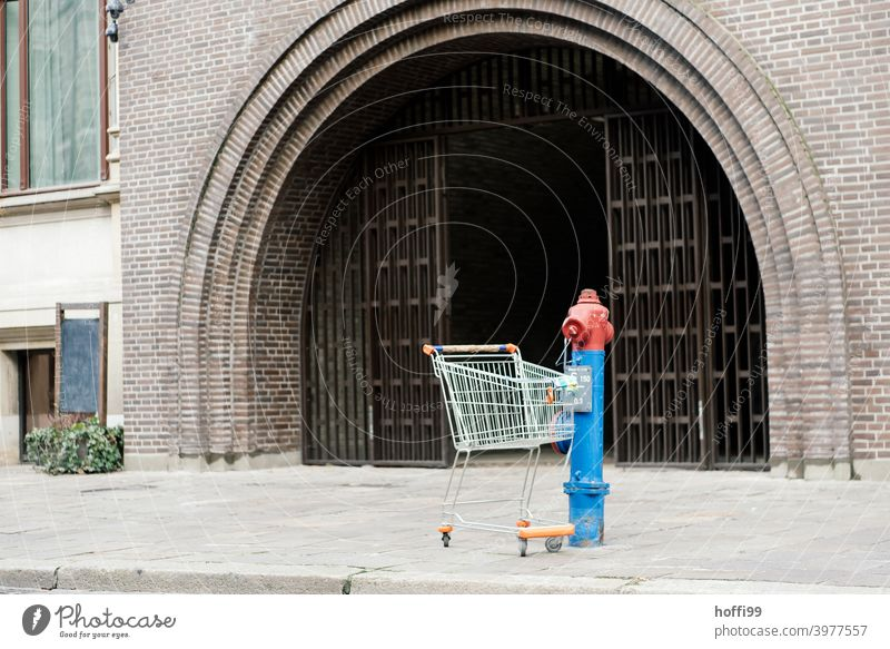 a shopping cart stands alone at a hydrant in the city Fire hydrant Shopping Trolley Downtown Goal Main gate Front door Still Life urban still life water hydrant