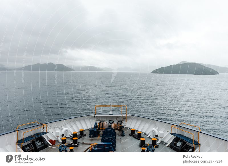 #AS# Land in sight III Navigation Red camera Exterior shot Blue Ocean Sky coast Islands Railing Wide angle Hope Future North Island Ferry Crossing travel