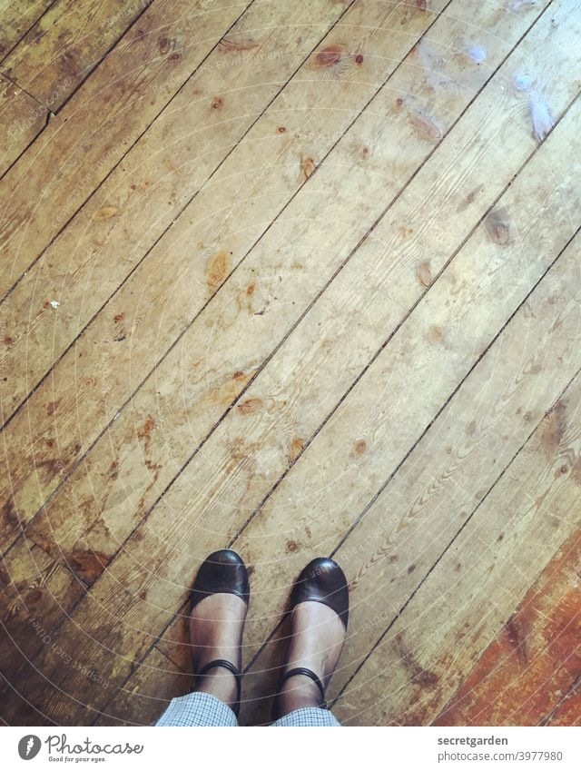 Keep both feet firmly on the ground. Stairs Wood Floorboards wooden floorboards Retro Old building Period apartment Architecture Living or residing
