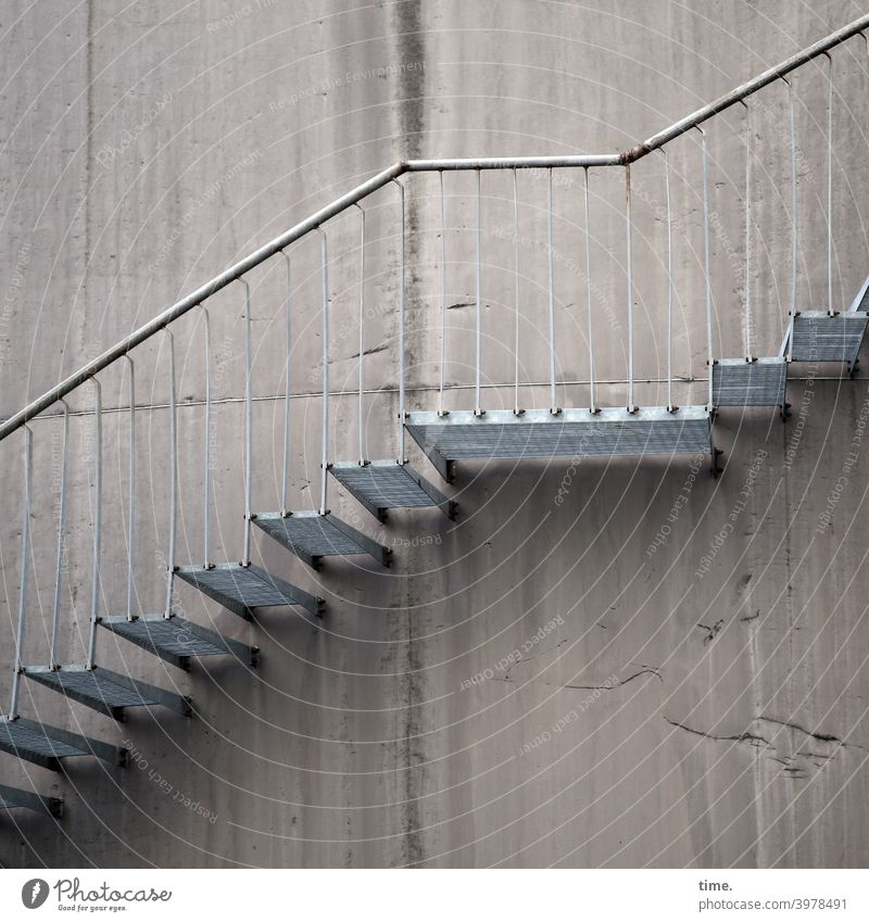 _/- Stairs Wall (building) Concrete Upward steel staircase stagger Steel Iron rail Banister handrail Landing Rust Architecture Manmade structures