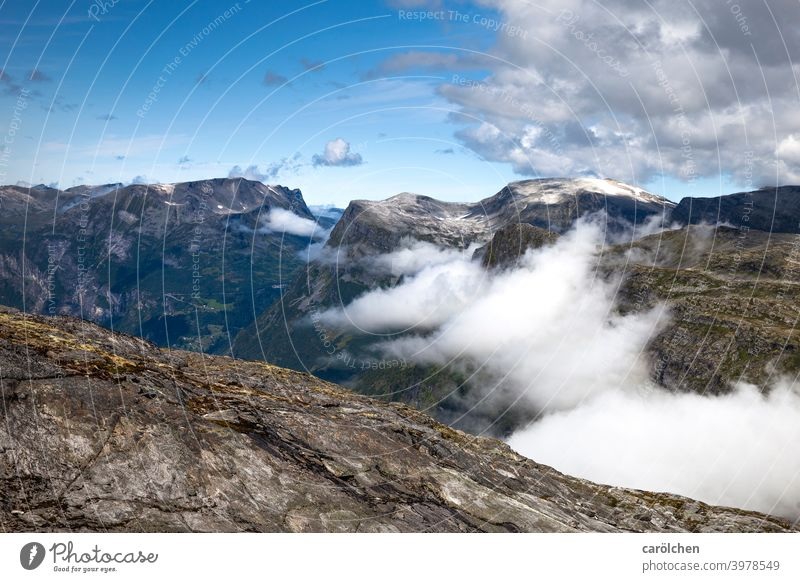 View into the norwegian landscape with clouds Mountain Clouds Rock Landscape Norway Fjord Hiking farsightedness