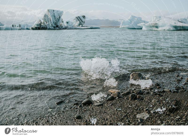 Ice melting ice Glacier Glacier ice iceland lagoon water snow winter spring Blue Iceberg Cold
