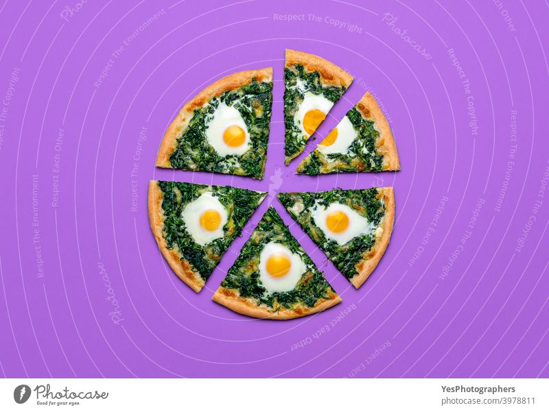 Sliced pizza with spinach and eggs, top view. Vegetarian pizza slices, minimalist Italian cheese colored background cuisine cut out delicious dinner
