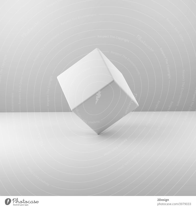 Geometric real plastic cube on White background. 3d illustration white object square blank design box merchandise cardboard commercial empty grey isolated