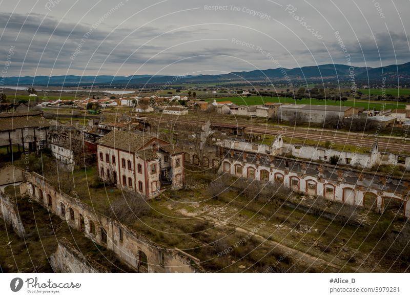 Aerial view of abandoned former mining sites peñarroya-pueblonuevo Spain Industry Lost Places adventure aerial landscape aerial photography ancient Andalusia