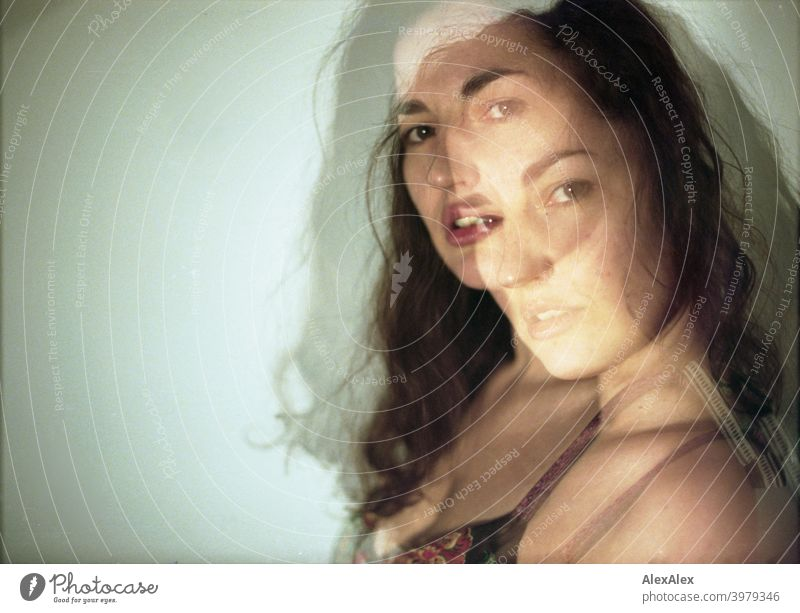Double exposure - portrait of a young brunette long haired woman Woman naturally pretty Brunette Long-haired long hairs Slim block Shoulder Skin asking