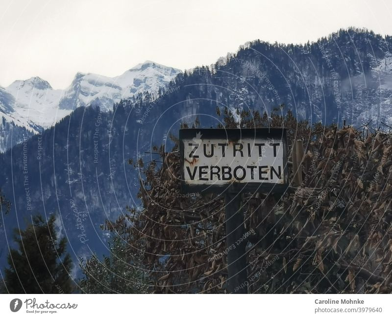 "Sign ""ZUTRITTEN VERBOTEN"", in the background a withered hedge and snow mountains sign out of bounds Entrance Admission Signs and labeling Warning label Deserted"