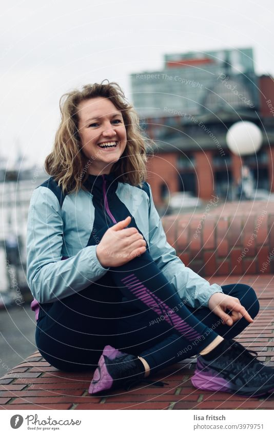 little sports break for in between... Woman Laughter Relaxation Sports Healthy Fitness Exterior shot Adults Blonde Colour photo Sports Training Athletic