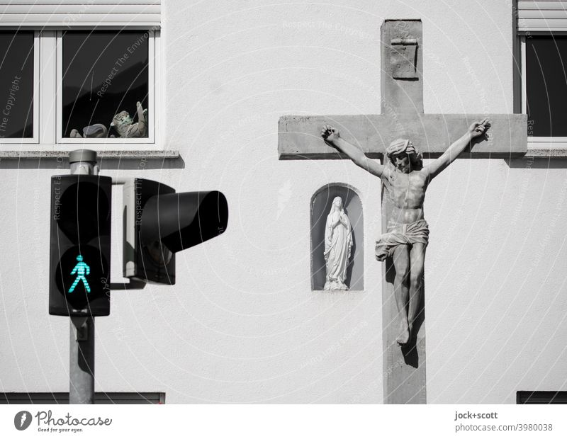 Forms and colour of faith Pedestrian traffic light ampelmännchen Traffic infrastructure Road sign Facade Window Safety Cuddly toy statue of the Virgin Mary