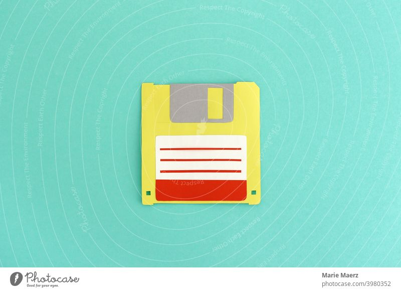 Floppy Disk | Paper illustration of a floppy disk for storing data Floppy disk Diskette Storage medium store storage space Computer cloud Colour photo