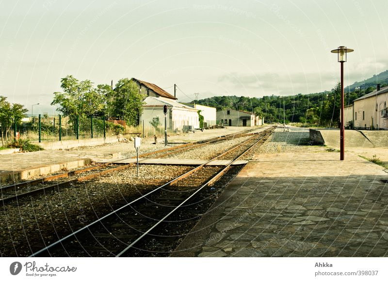 Mediterranean railway station in Corsica in the evening light Harmonious Vacation & Travel Tourism Far-off places Freedom Summer vacation Environment Landscape