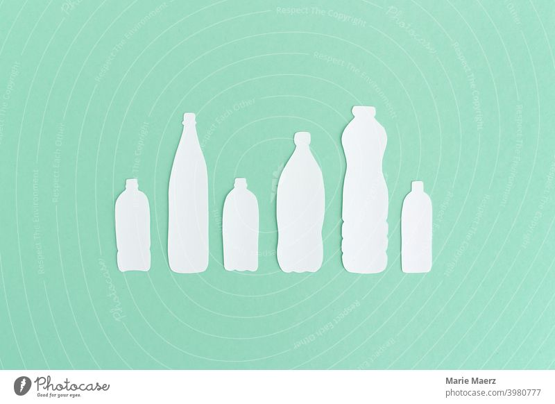 Plastic Bottle Silhouettes | Paper Illustration of PET Bottles in Different Shapes in a Row Plastic bottles pet silhouettes Recycling plastic plastic waste