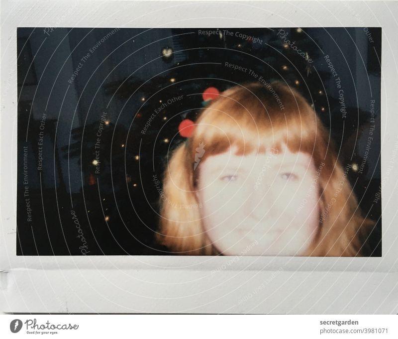 Better overexposed than underexposed. test test photo exposure errors Exposure Overexposure Analog Polaroid Christmas & Advent celebrations Joy Red-haired Woman