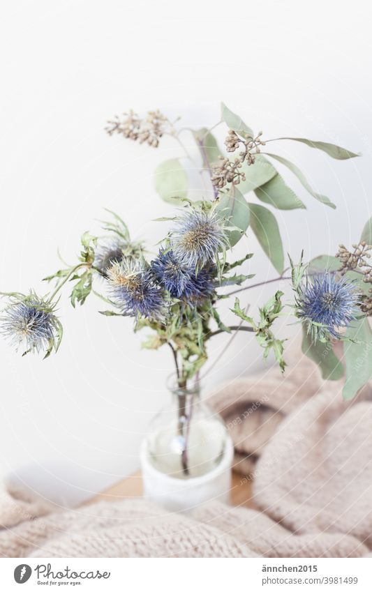 A small bouquet of dried flowers and a cosy woollen blanket Autumn hygge Cozy Wool Blanket Ostrich Vase Dried flower Winter Lifestyle Safety (feeling of)