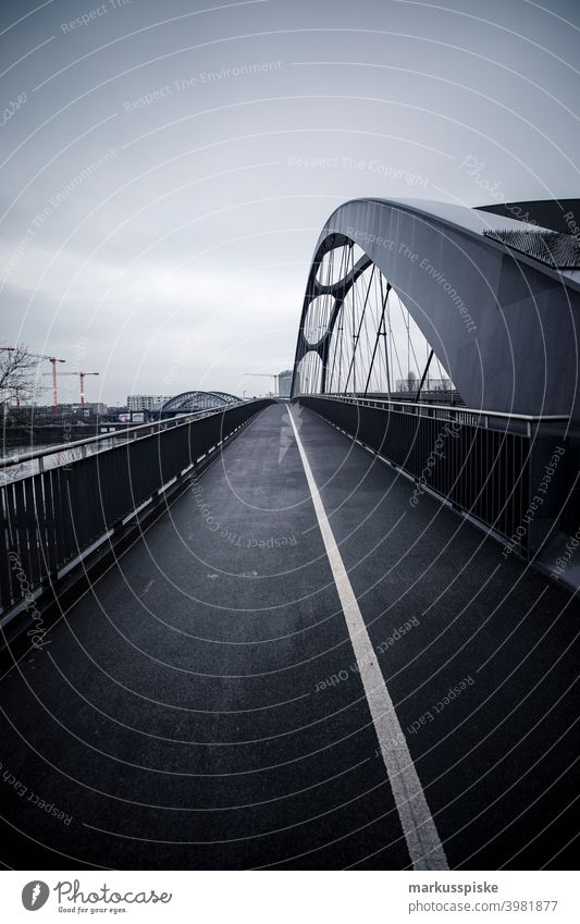 Osthafenbrücke Frankfurt am Main Style architecture bank building city cladding design district edge facade face finance flow front frontage glass high
