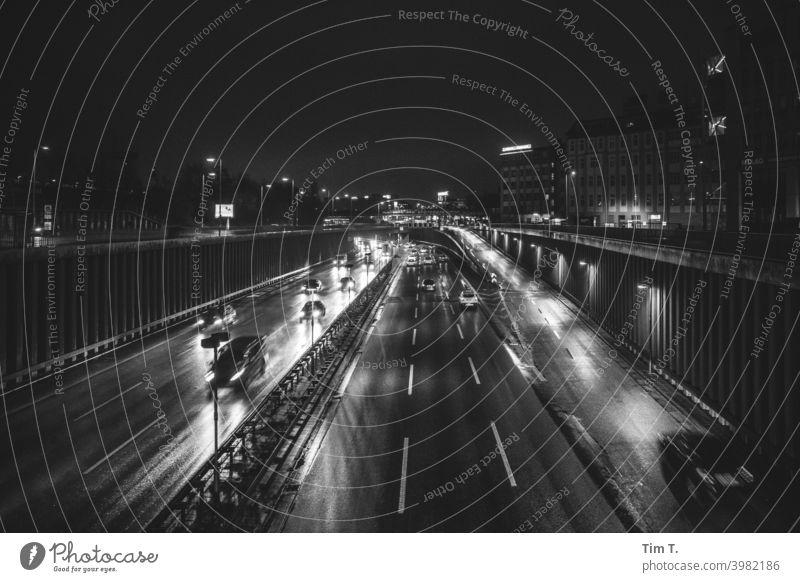 Berlin city motorway City highway black-and-white Highway Schöneberg Night Winter night Transport Light Speed Driving Movement Exterior shot Street