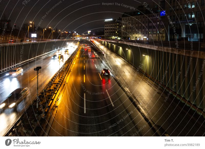 At night on a bridge in the city Berlin Schöneberg City highway Copy Space Deserted Town Twilight City life Evening Downtown Transport Highway Capital city