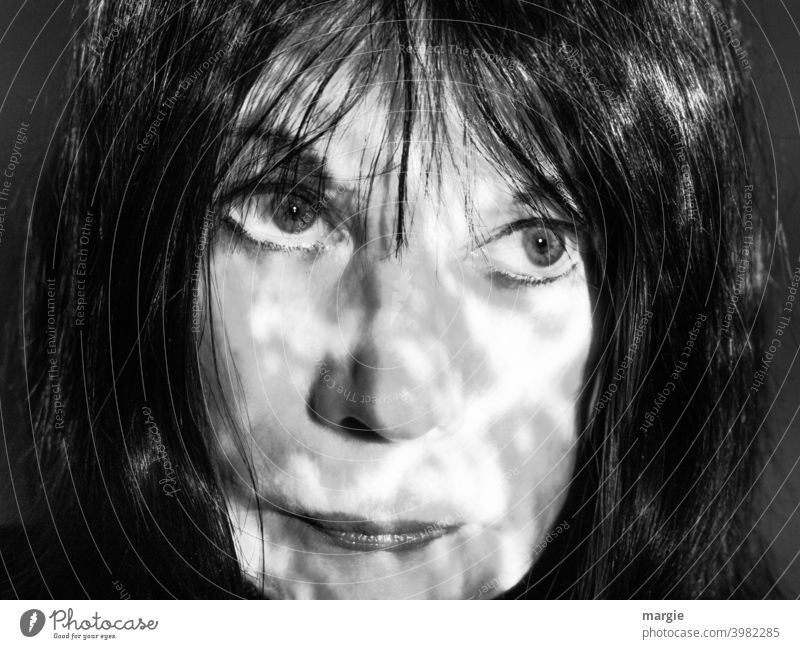 The face of a woman with shadow Face Woman eyes Mouth Head Human being portrait Nose Feminine Young woman Adults Lips Black & white photo Face of a woman