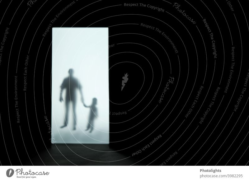 Silhouette of a child and man silhouettes Shadow Human being Dark Black White Interior shot Gray Adults Woman Man Child Fear Creepy depressing Emotions Threat