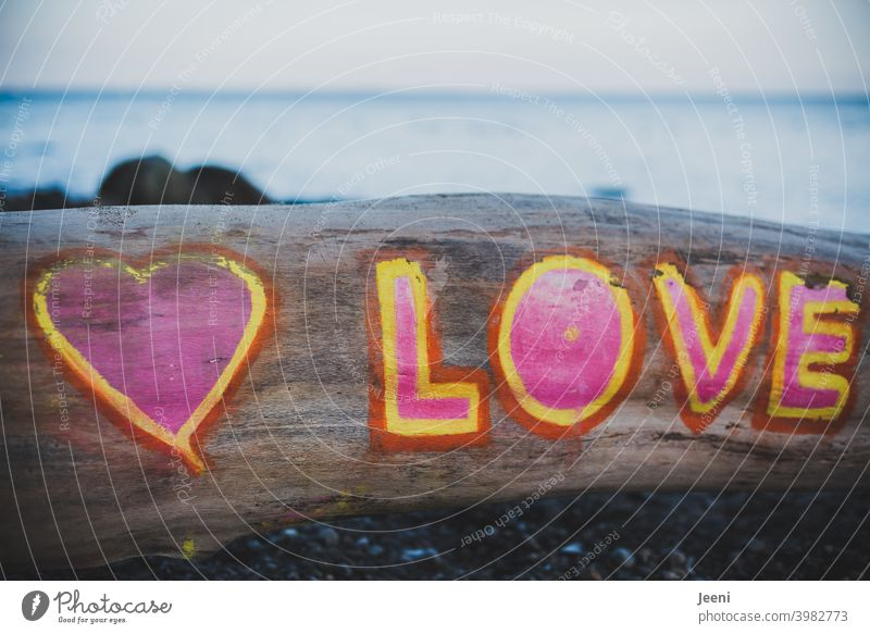 All you need is... ♥ LOVE   Love greeting on the beach   Tree trunk painted with a heart and the word Love in pink, yellow and red   Sea and coast in the background