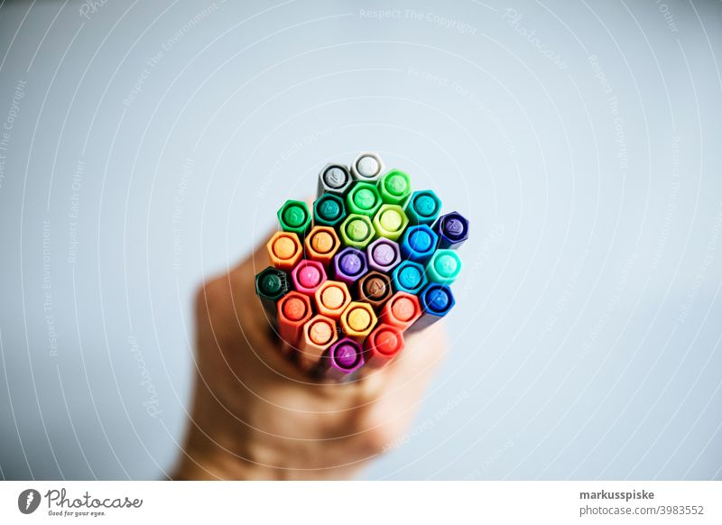 Handful of color palette  pens black blue blue red brown brush colored colored pen creative different draw drawing green grey home office length paint painting