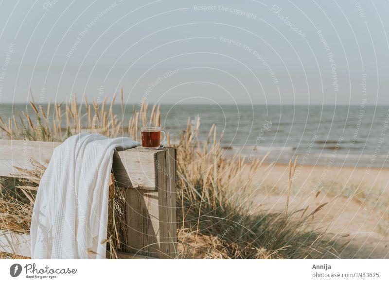 By the sea tea blanket beach sand morning Beach chair Ocean Sand Coast North Sea Baltic Sea Morning Vacation & Travel Relaxation Summer Tourism Sky