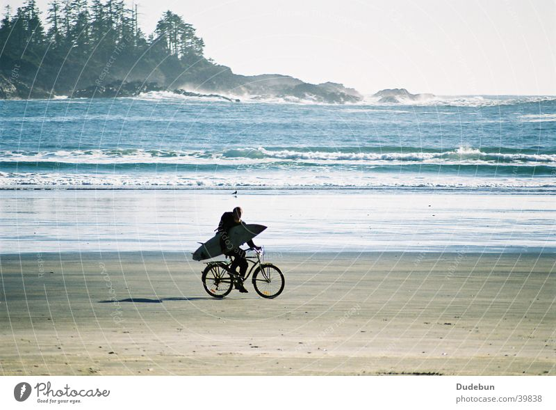 Saturday Afternoon Man Ocean Beach Sand Bicycle Island Surfing Surfer Hippie Aquatics Tofino Pacific Ocean Canada Vancouver Island