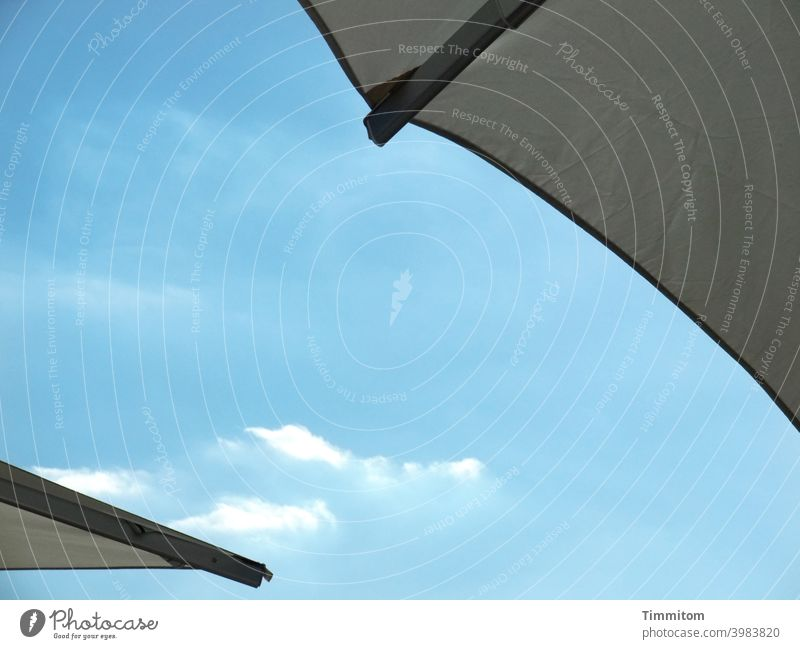 That would be nice - sunshades and blue skies Sunshade 2 Sky Blue Clouds Beautiful weather Summer Light Deserted Good mood summertime