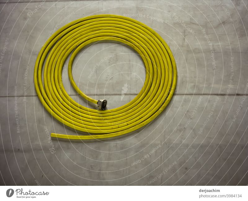 Yellow water hose lies neatly rolled up on the concrete floor. Water hose Garden hose Hose Colour photo Deserted Exterior shot is coiled