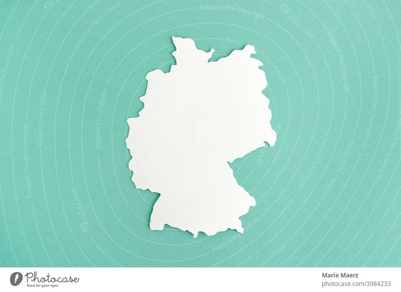 Germany map | white paper silhouette Map Deserted Silhouette outline Illustration paper cut country Neutral Background Minimalistic Abstract Design shape