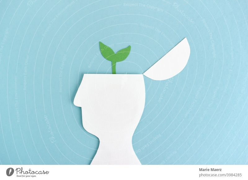 Let thoughts grow | Plant grows from head silhouette Growth Development brain Science & Research Academic studies illustration Illustration paper cut waxing