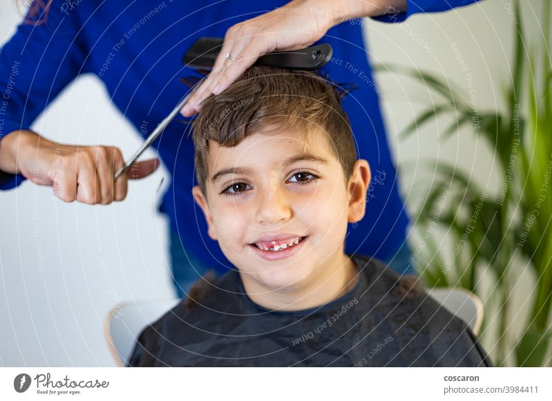 Funny boy getting haircut at home with scissors adorable barber barbershop beauty caucasian child childhood close comb cute equipment face fashion hairdresser