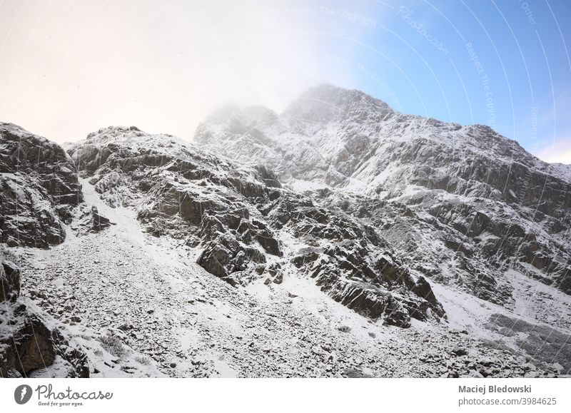 Tatra mountains on a snowy day, Tatra National Park, Poland. snow capped winter rock landscape terrain Tatry weather snowfall nature wilderness adventure sky