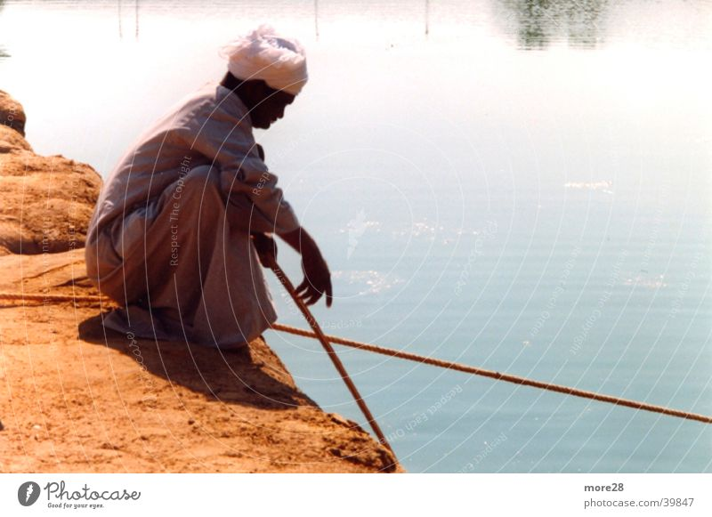 Water Contentment Fisherman Egypt Nile