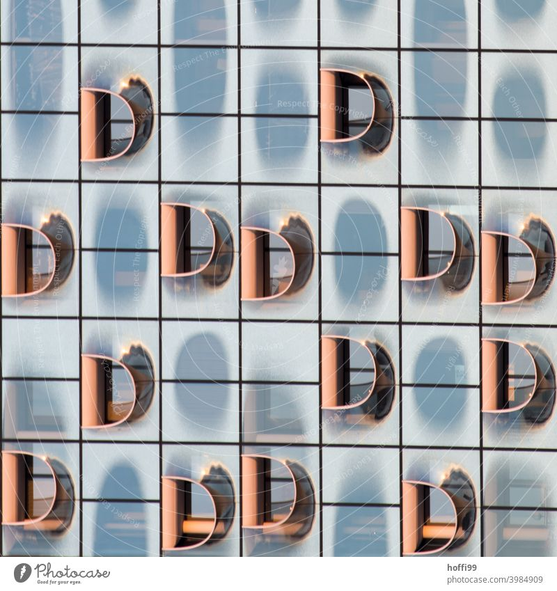 many D elements in the modern exterior facade Letters (alphabet) Abstract Facade Modern architecture Architecture Glas facade Glass Reflection