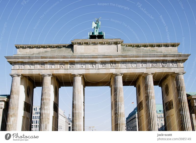 contemporary history, west side of the Brandenburg Gate Berlin Cloudless sky Early classical period World heritage Historic Sightseeing Tourist Attraction