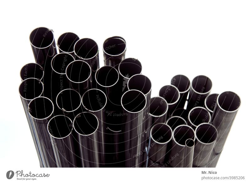 a pile of pipes conduit reeds Metal Metalware Structures and shapes Arrangement metal pipe Detail Tin Recycling waste reuse recycle Material depot scrap metal