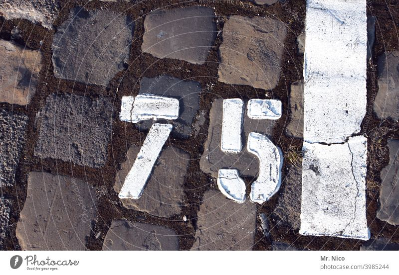 Number 75 Digits and numbers Black Parking lot White Gray Paving stone Jubilee Stone Structures and shapes Places Floor covering Arrangement Lanes & trails
