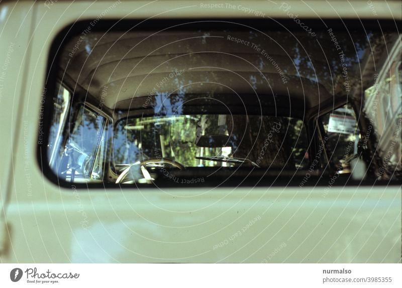 Combi Family Car station wagon caracan Rear Window Old vintage Beige Motor vehicle Historic Vintage car Parking Roadside Steering wheel Mirror mirror interior