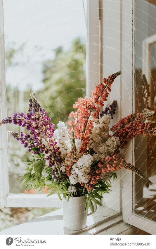 Summer flowers Lupines summer vase Flower Floral Bouquet window morning sunlight fresh air barn farm country
